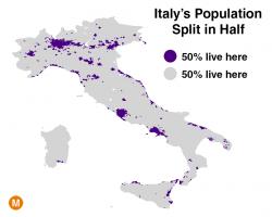 Una mappa dell�Italia alternativa: met� della popolazione vive in pochissimo spazio