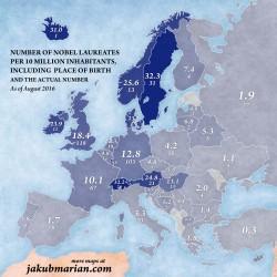 La mappa dell�Europa in base ai premi Nobel pro-capite