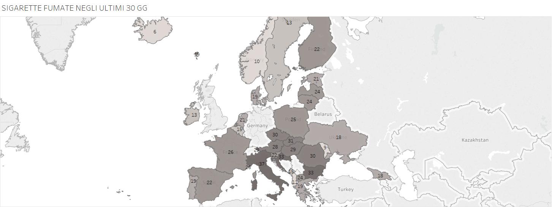 dove si fuma di più, mappa dell'Europa