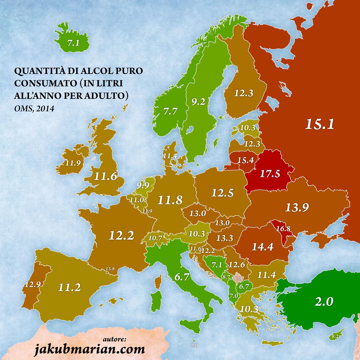 dove si beve di più, mappa dell'Europa