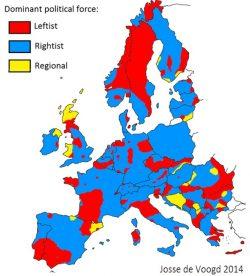 Europa politica, le mappe del continente in base al partito dominante