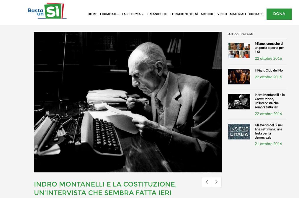 Comitato del Sì arruola Indro Montanelli