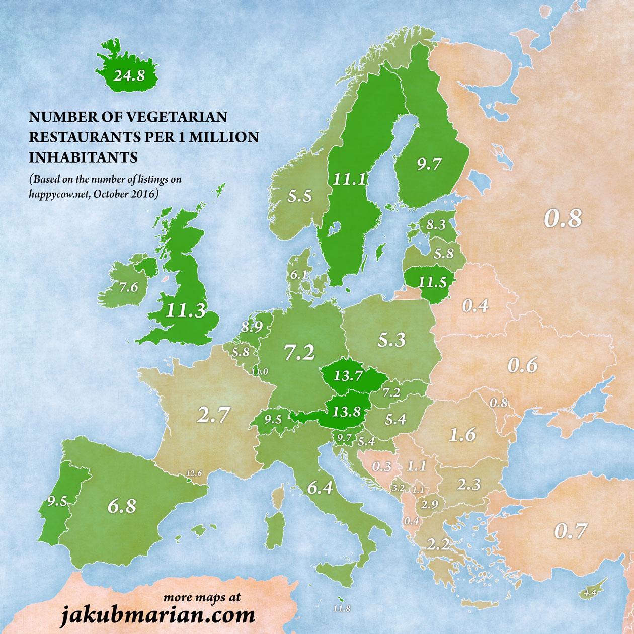 Ristoranti vegetariani, mappa dell'Europa