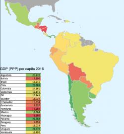 America Latina, la mappa del reddito pro-capite, le enormi differenze tra Paese e Paese