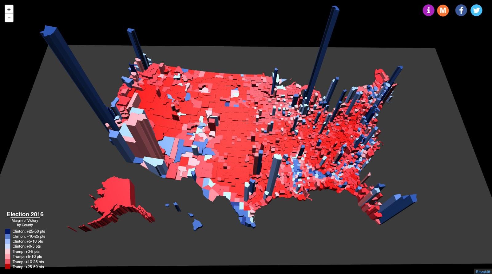 elezioni USA, mappa degli USA in 3 D