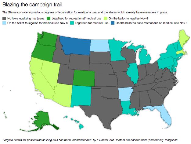 Usa 2016. Marijuana legale, al voto nove stati l'8 novembre