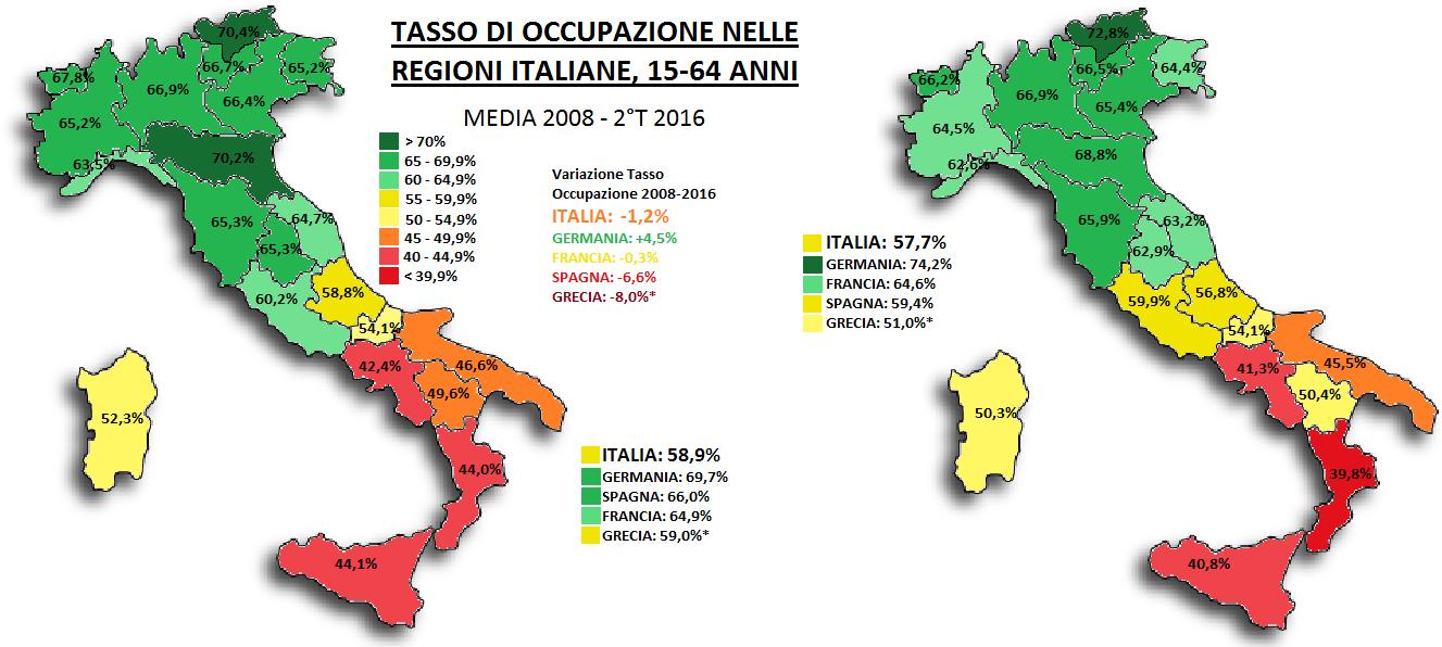 occupazione nelle regioni, mappe dell'Italia