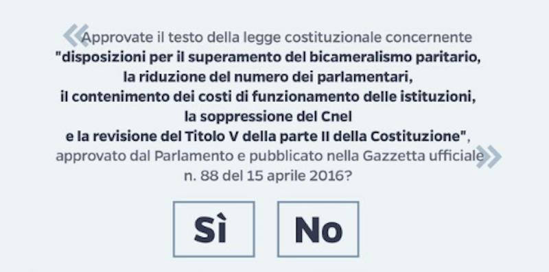 quesito referendum riforma costituzionale