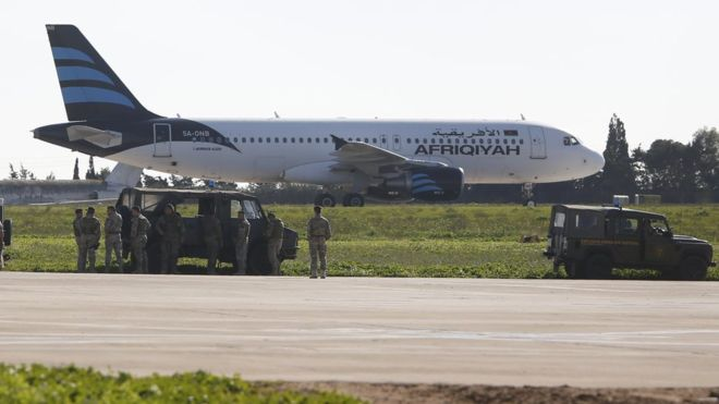 Libia, Malta aereo dirottato