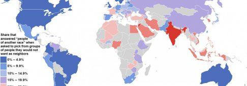 La mappa dei Paesi più razzisti, in testa India, Giordania, Arabia Saudita
