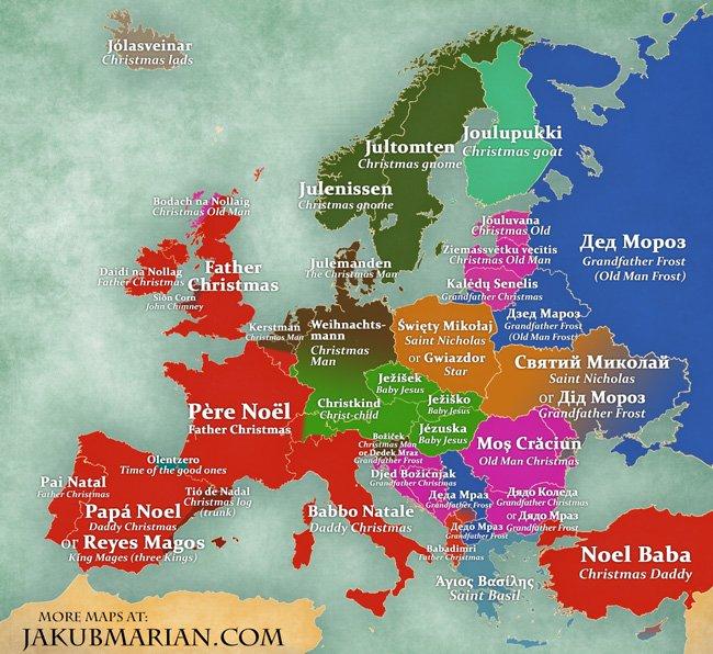Babbo Natale Mappa.Mappe Come Si Chiama Babbo Natale Nei Paesi D Europa