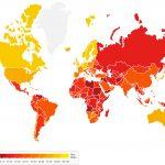 Classifica della corruzione, mondo intero colorato in rosso e giallo