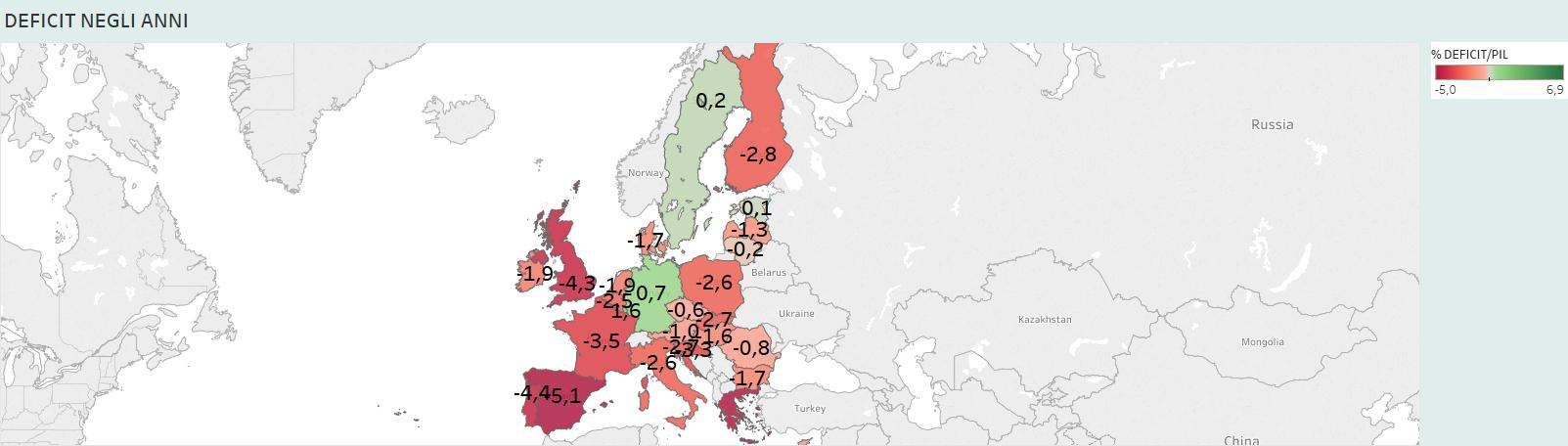 DEFICIT PUBBLICO, mappa colorata dell'Europa
