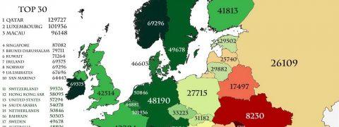 Paesi più ricchi d'Europa, mappa colorata d'Europa