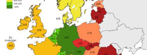 Riciclo dei rifiuti, mappa dell'Europa