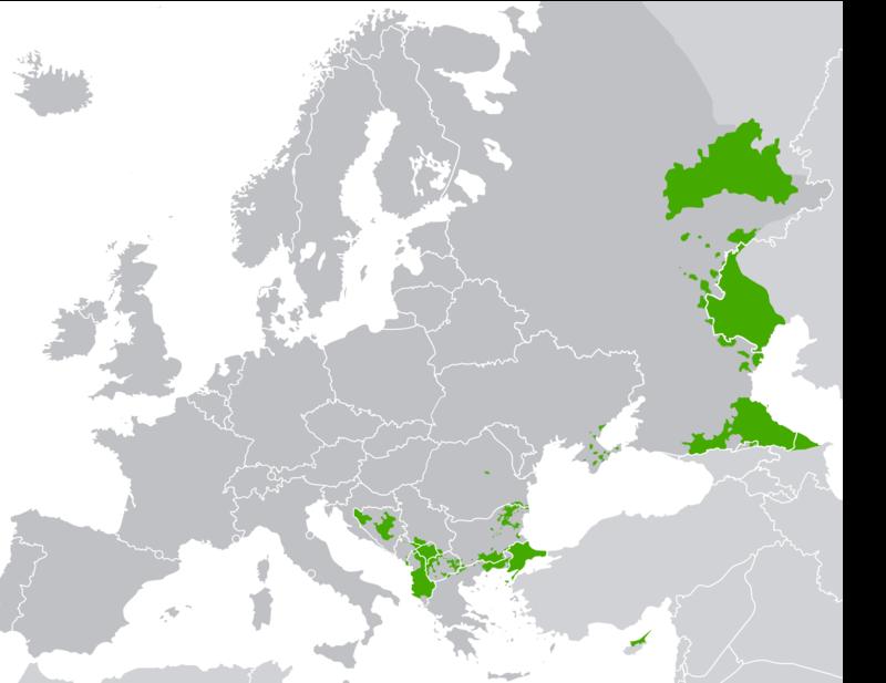 musulmani in europa, mappa europea con aree verdi
