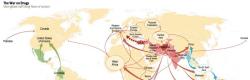 Una mappa che spiega il traffico di eroina a livello mondiale
