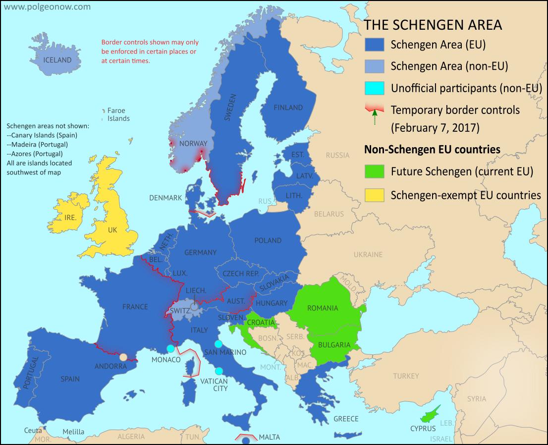 mappa schengen, mappa unione europea