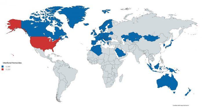 mappe omicidi intenzionali nel mondo