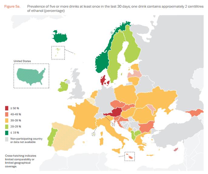 consumo alcool - le sbronze in europa secondo ESPAD