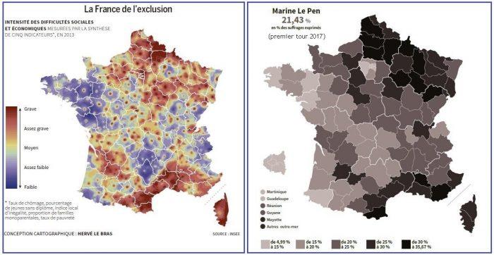 carta esclusione sociale francia voti marine le pen 2017 presidenzial