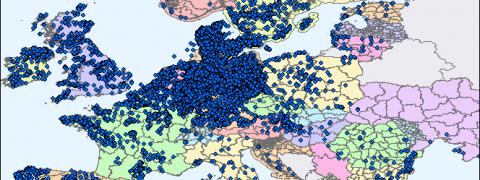 mappe, puntini blu sull'Europa