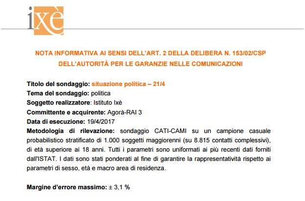 sondaggi elettorali ixè - nota informativa 21 aprile