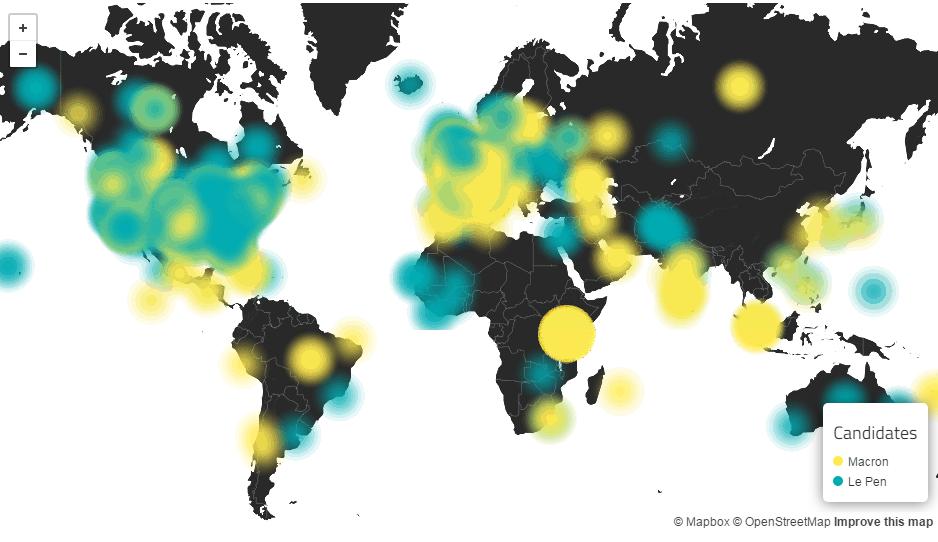Elezioni Francia 2017 - la mappa mondiale della sentiment analysis su twitter
