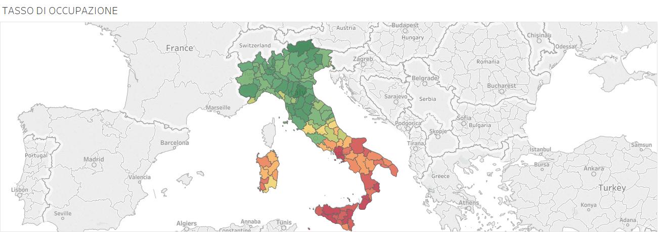 TASSO DI OCCUPAZIONE, mappa dell'Italia