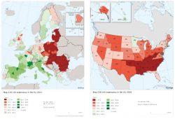 Aspettativa di vita in Europa e in USA, la mappa delle impressionanti differenze