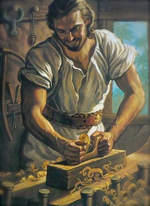 immagine di Gesù falegname operaio che lavora il legno