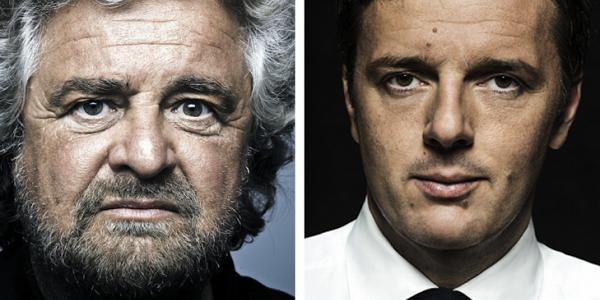 Legge elettorale 2017, volto di Renzi e Grillo