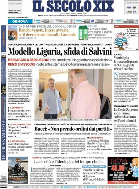 Prima pagina 27 giugno 2017, quotidiani e sportivi