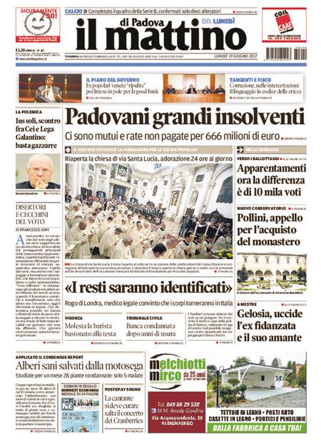Prima pagina 19 giugno, quotidiani e sportivi