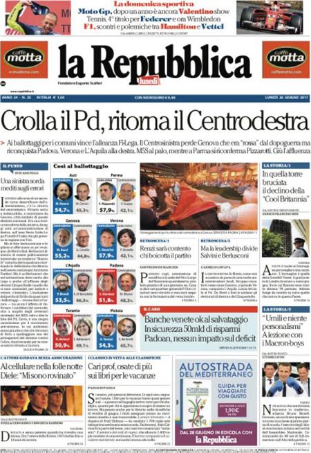 Prima Pagina 26 Giugno 2017 Quotidiani E Sportivi