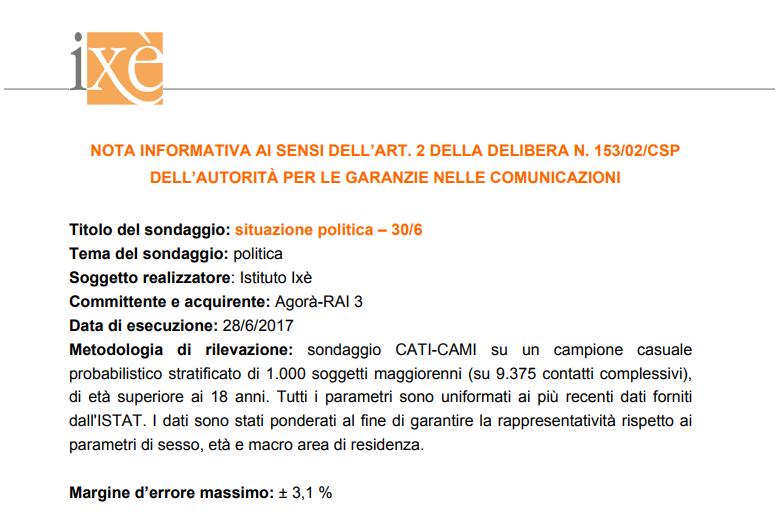 sondaggi elettorali ixè - nota metodologica 30 giugno