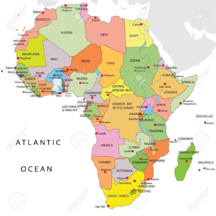 mappa politica africa, popolazione africa