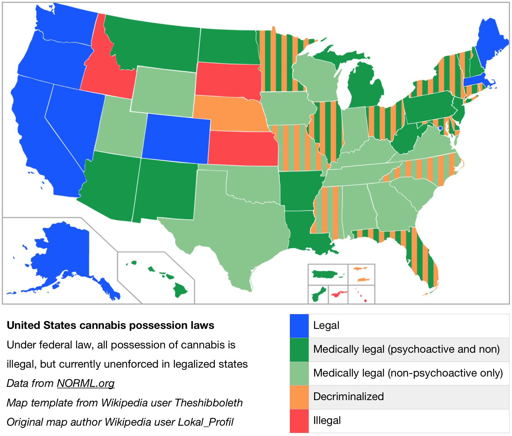 Legalizzazione Cannabis Stati Uniti I Vari Gradi Di Legalità - 2017 us marijuanna map wiki