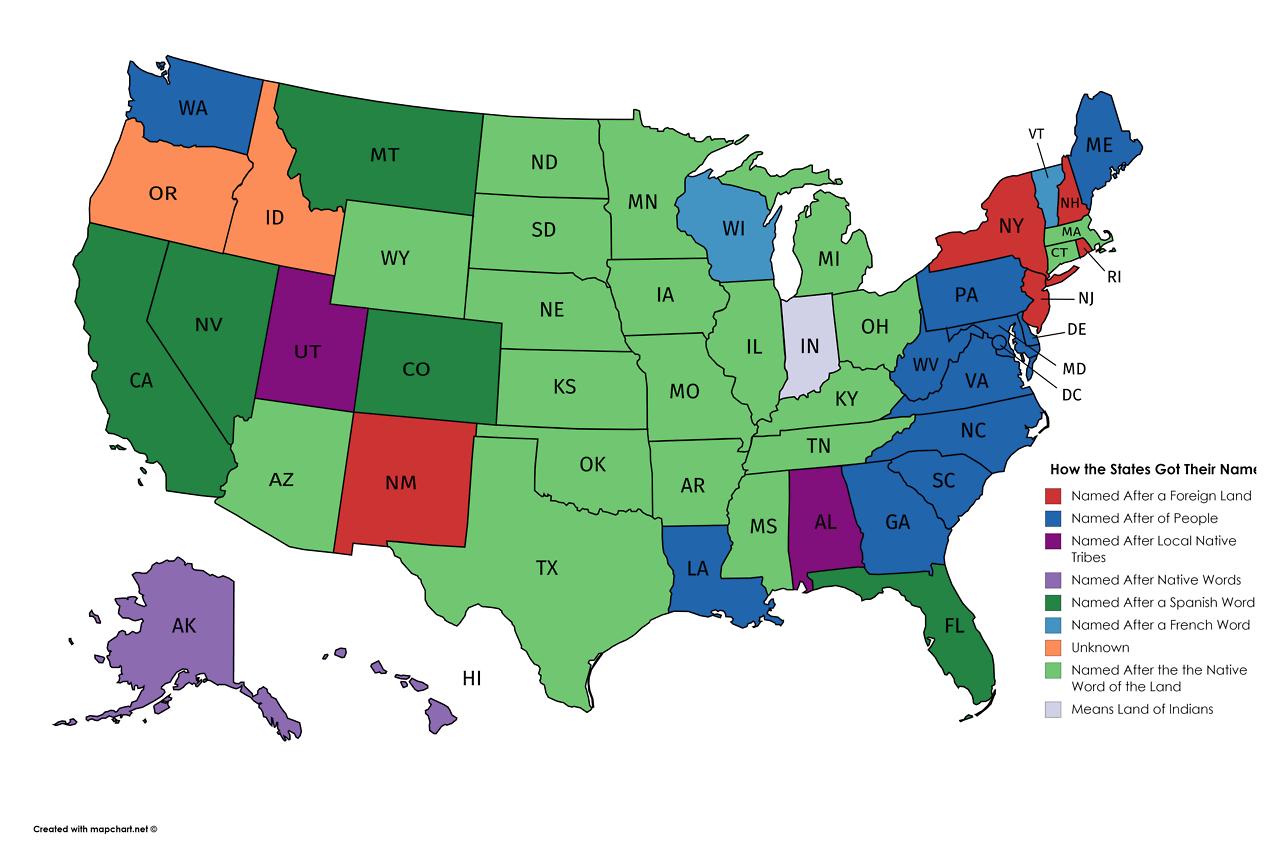 Stati Uniti Politica Cartina.Stati Uniti Curiosita L Origine Dei Nomi Dei 50 Stati La Mappa