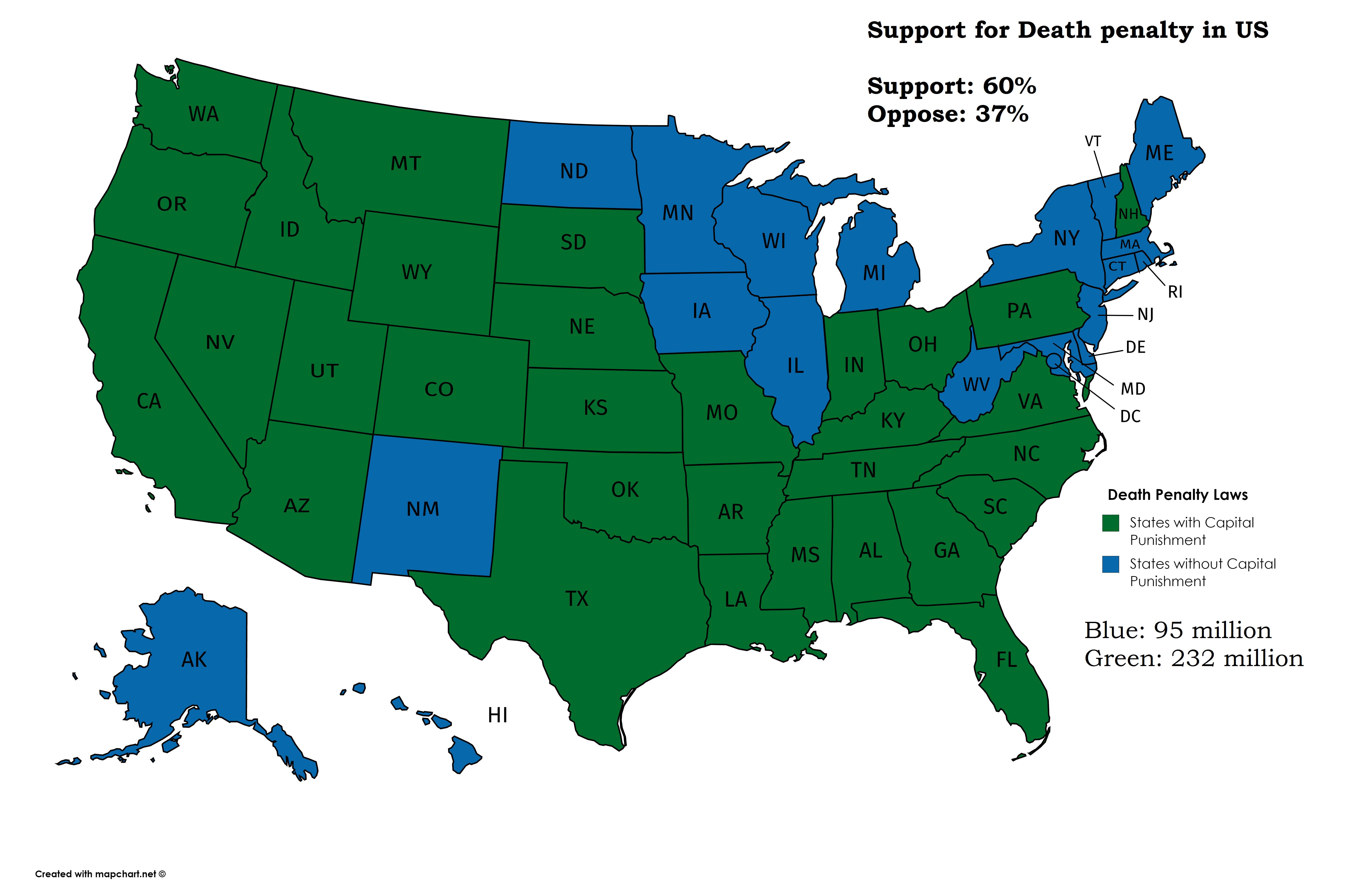 mappe stati uniti pena di morte
