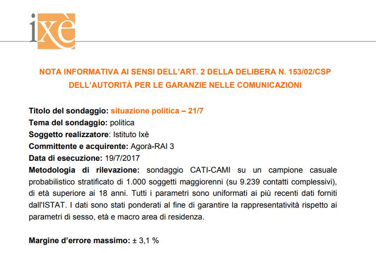 sondaggi elettorali ixè - nota metodologica 21 luglio