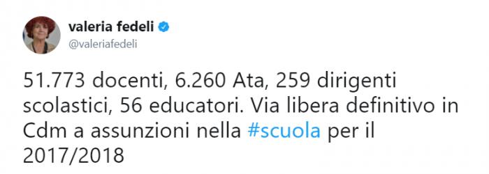 Personale Ata, assunzioni: tweet Fedeli