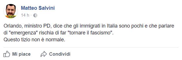 Salvini su Facebook contro il ministro della Giustizia Orlando