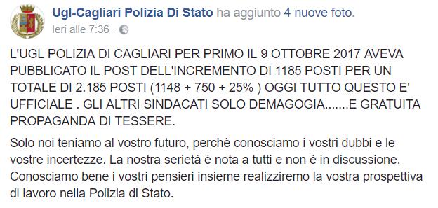 Concorso Polizia 2017, aumento posti: ne parla UGL Cagliari