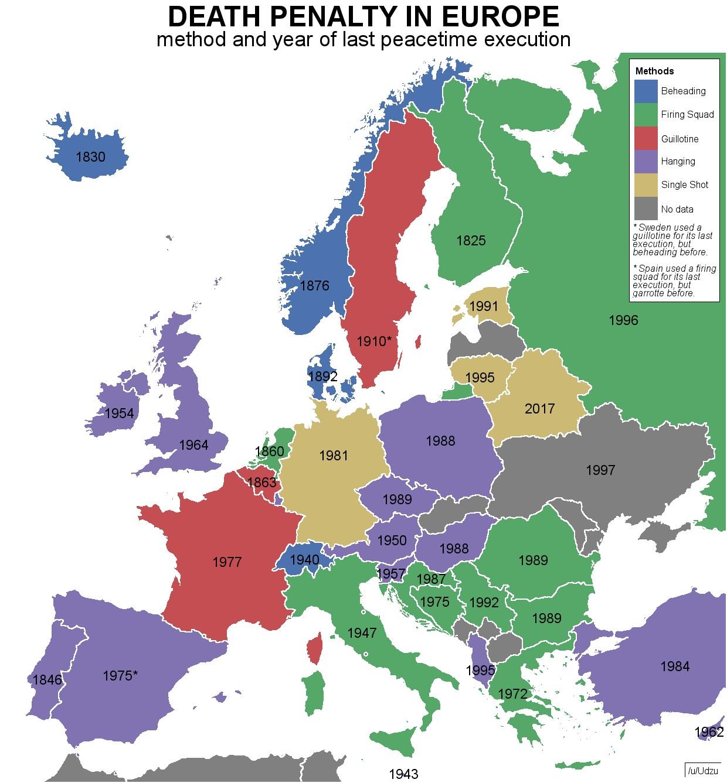 Cartina Politica Dell Europa Con Le Capitali.Pena Di Morte In Europa Le Ultime Esecuzioni La Mappa