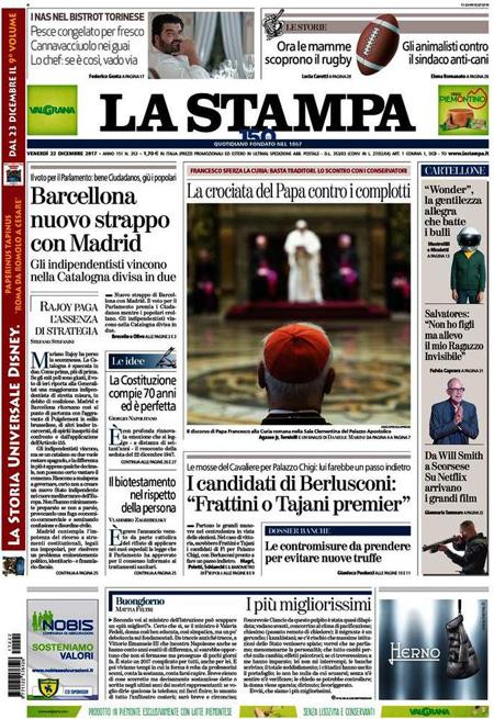 Rassegna stampa 22 dicembre 2017