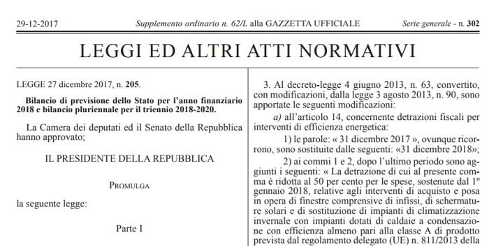Legge di Bilancio 2018 in Gazzetta Ufficiale pdf