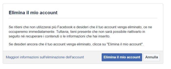 Come cancellare account Facebook: cancellazione