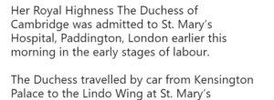 Kate Middleton parto: terzo Royal Baby, ultime notizie sulla nascita – LIVE