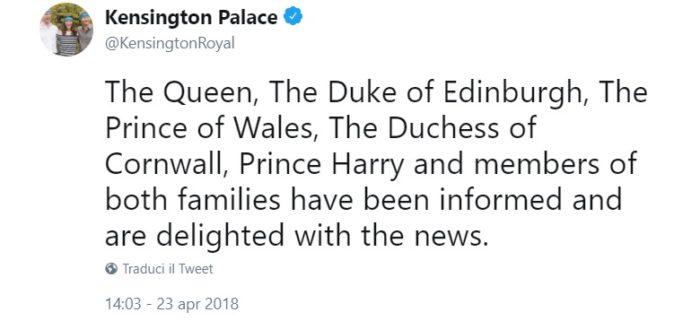 Kate Middleton terzo Royal Baby nato, tweet